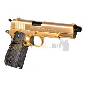 Replica pistol airsoft M1911 Full Metal GBB placat cu aur 24K