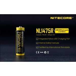 Acumulator Nitecore NL1475R, 750 mAh