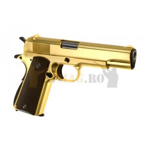 Replica pistol airsoft M1911 Auriu Full Metal GBB
