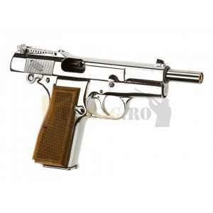 Replica pistol airsoft Hi-Power Argintiu Full Metal GBB